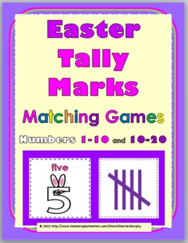 Easter Math Activities - Tally Marks Matching Games