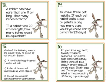 Easter Task Cards - 7th Grade Word Problems