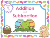 Easter Task Cards  -  Addition and Subtraction Facts to 10 FREE SAMPLE