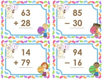 Easter Task Cards  -  Addition and Subtraction Facts  to 99
