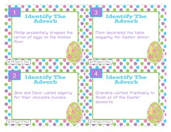 Easter Task Cards-Adverbs