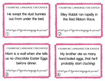 Easter Task Cards: Figurative Language for 4th - 5th Grade