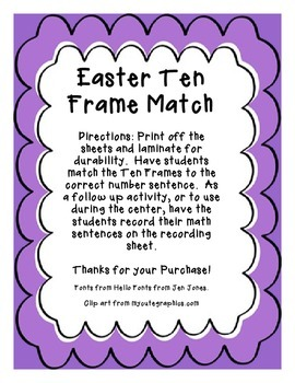 Easter Ten Frame Match