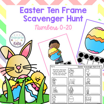 Easter Ten Frame Scavenger Hunt by Kindergarten by Katie | TpT
