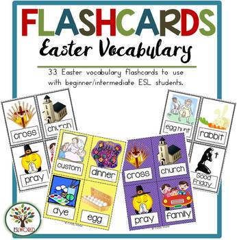 Easter Terms {36 Flashcards & Games} ESL Adults & Grades 4-6