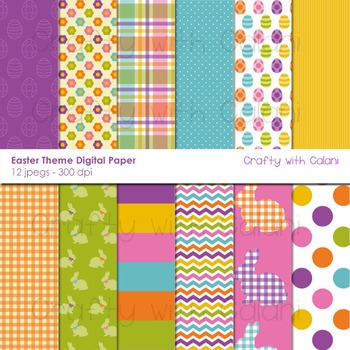 Easter Theme Digital Paper and Background Set - 12 high re