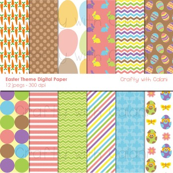 Easter Theme Digital Paper and Background Set - 12 high res background image