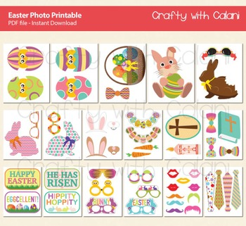 Easter Theme Photo Booth Props Printable - 50 Ready To Print Images