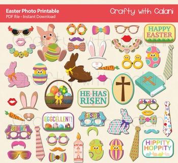 Easter Theme Photo Booth Props Printable - 50 Ready To Pri