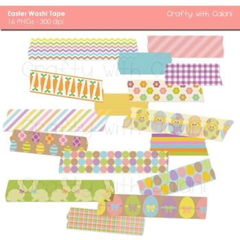 Easter Theme Washi Tape Digital Clipart - 16 High Res Washi Tape Clipart