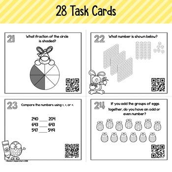 Easter Themed 2nd Grade Spiral  Math Task Cards