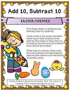 Easter Themed Add 10 Subtract 10 Scoot
