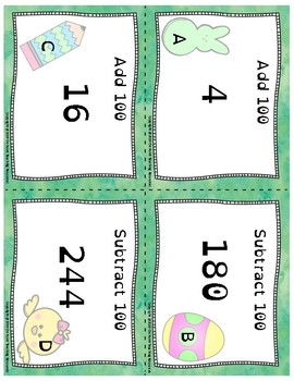 Easter Themed Adding/Subtracting 100 Place Value Scoot