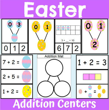 Easter Themed Addition Centers and Activities for Kindergarten