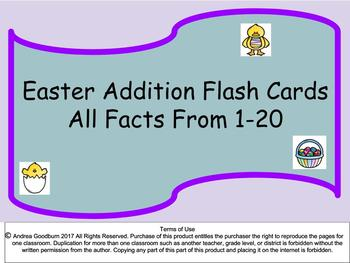 Easter Themed Addition Flash Cards: All facts 1-20