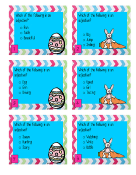 Easter Themed Adjectives Center Game