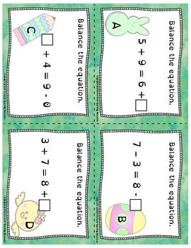 Easter Themed Balance the Equation Scoot Cards