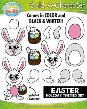 Easter Themed Build-A-Character Clipart Set — Includes 30 Graphics!