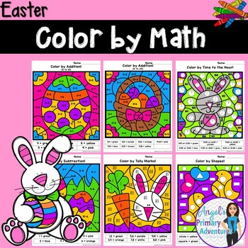 Easter Themed Color by Code Math Activities