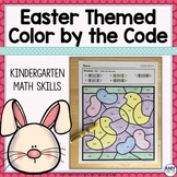 Easter Themed Color by the Code Kindergarten Math Worksheets
