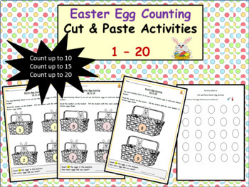 Easter-Themed Counting 1 to 10, 15 and then up to 20 - Cut/Paste Activities