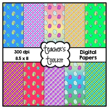 Easter Themed Digital Background Papers {8.5 x 11} Clip Art CU OK