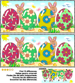 Easter Themed Find the Differences Picture Puzzle, Commercial Use Allowed