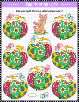 Easter Themed Find the Identicals Visual Puzzle, Commercial Use Allowed
