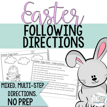 Easter Themed Following Directions Coloring Pack- No Prep