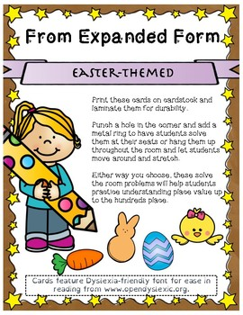 Easter Themed From Expanded Form Scoot Cards
