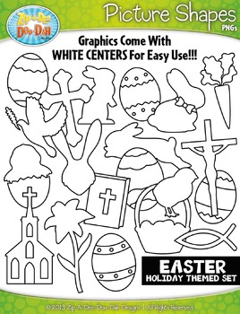 Easter Holiday Picture Shapes Clipart Set — Includes 20 Graphics!