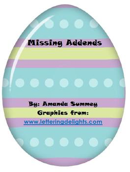 Easter Themed - Kdg. Common Core Math: Addition: Missing A