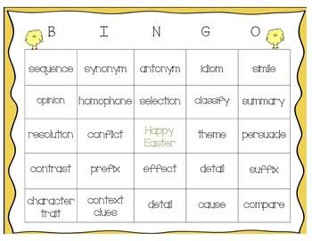 Easter Themed Language Arts Test Prep Bingo (3rd-5th grade LA)