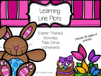 Easter Themed Line Plot Math Activities, Task Cards and Worksheets