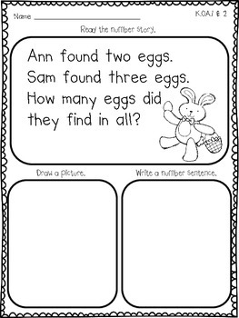 Easter Themed Number Stories for Primary Learners (Common Core Based)