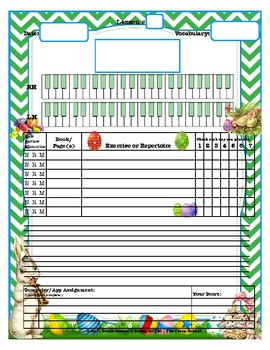 Easter Themed Piano Lesson Assignment Sheet (Version 2)