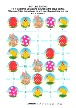 Easter Themed Picture Sudoku Puzzle, Commercial Use Allowed