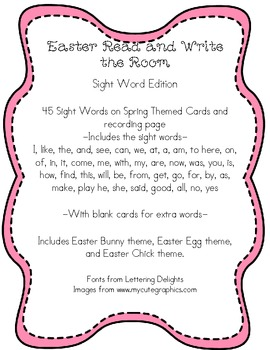 Easter Themed Read and Write the Room- Sight Word