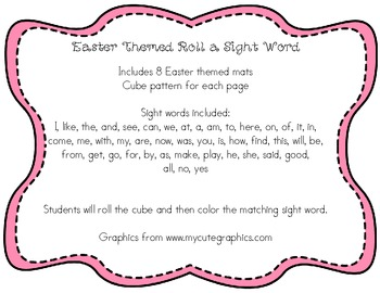 Easter Themed Roll a Sight Word Mats