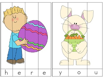 Easter Themed Sight Word Picture Puzzles