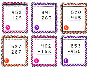 Easter Themed Subtraction With Regrouping Task Cards