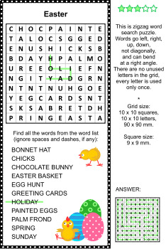 Easter Themed Word Search Puzzle, Commercial Use Allowed