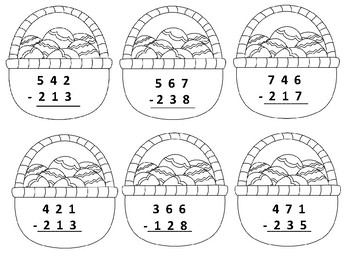 Easter Three Digit Subtraction with Regrouping
