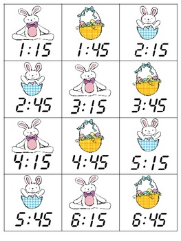 """Easter """"Time"""" Analog/Digital Time Matching to Quarter Hour (Common Core)"""