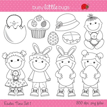 Easter Time Clipart set 1 - Includes color and blacklines
