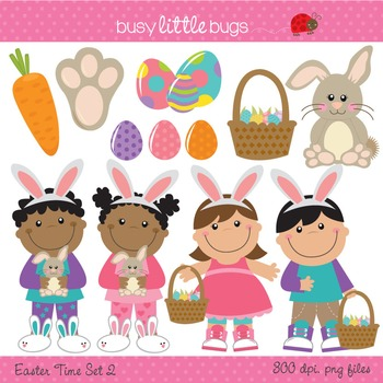 Easter Time Clipart set 2 - Includes color and blacklines