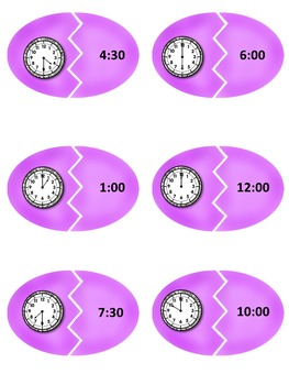 Easter Time Matching Game- Hour & Half Hour