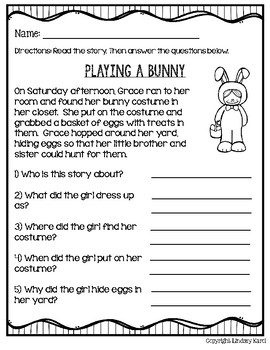 Easter Time Mini Stories and WH Comprehension Questions