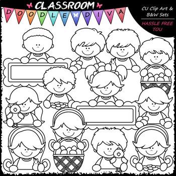 Easter Topper Kids - Clip Art & B&W Set