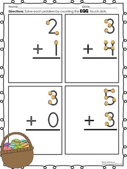 Easter Touch Dot Worksheets (Single Digit Addition)